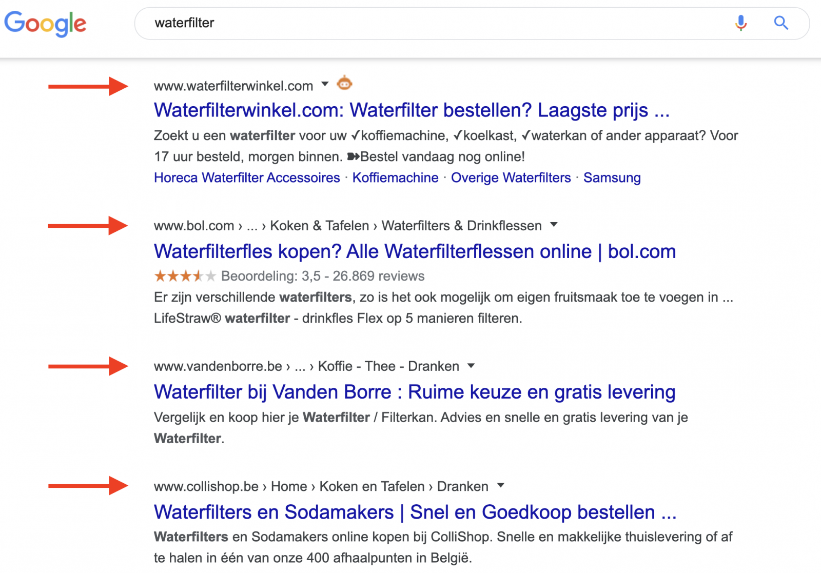 E-commerce SEO - waterfilter
